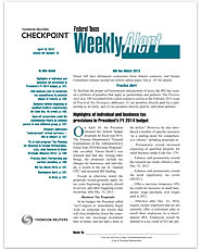 Federal Taxes Weekly Alert
